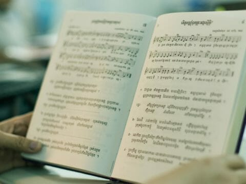 A Khmer hymn book used by Children in Families's church partnership program