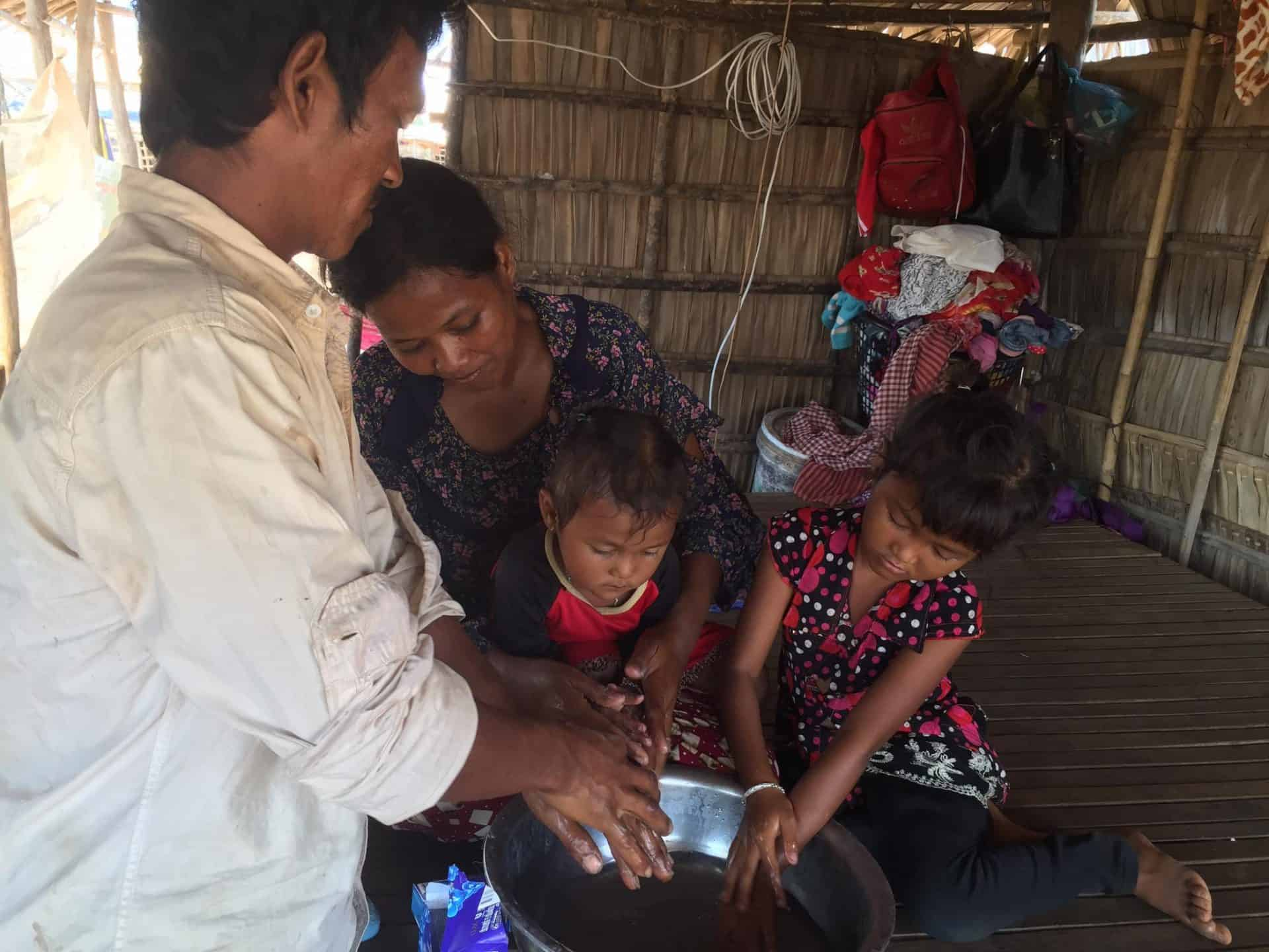 One of the families working with CIF, practicing proper hygiene.